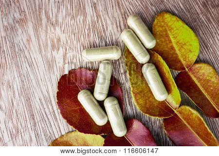 Herbal capsules from box.