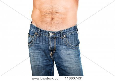 Shirtless men in jeans trousers