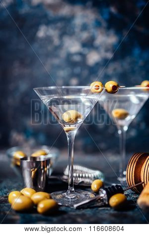 Dry Vodka Martini, Gin Tonic Cocktail Served In Restaurant, Pub And Bar. Long Drink Cocktail Concept