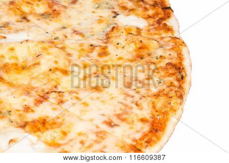 Delicious pizza with ham and vegetables baked in the oven