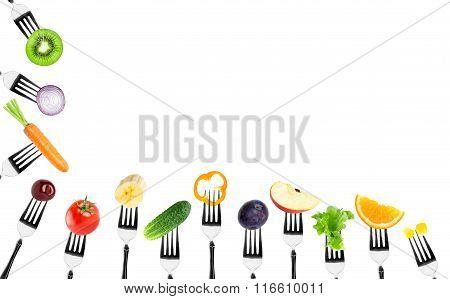 Fruits And Vegetables On Fork