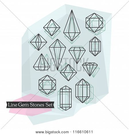 Abstract line symbolic cut diamonds and gem stones set