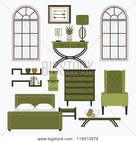 Home furniture, window and accessories set in color green