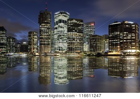 Brisbane cityscape reflections by night
