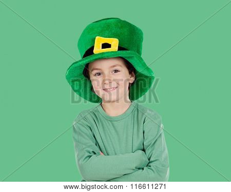 Kid dressed in green with St. Patrick's hat