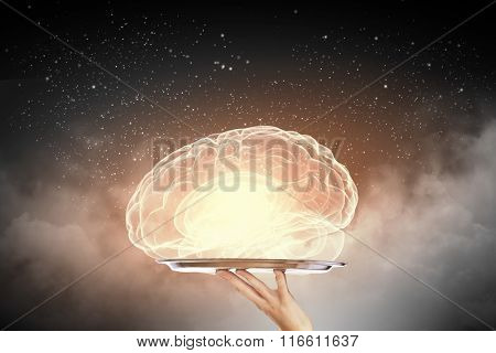 Brain on metal tray