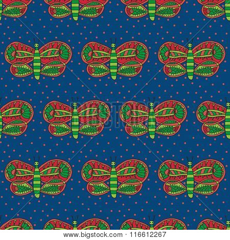 Cute butterfly with colorful bright ornament seamless pattern on a dark blue background
