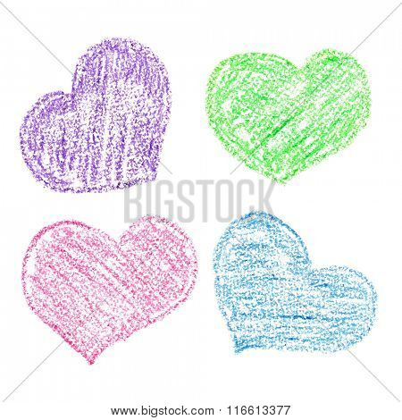 Crayon hearts of different colors isolated over the white background