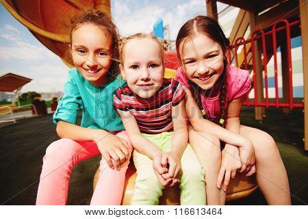 Girls in amusement park