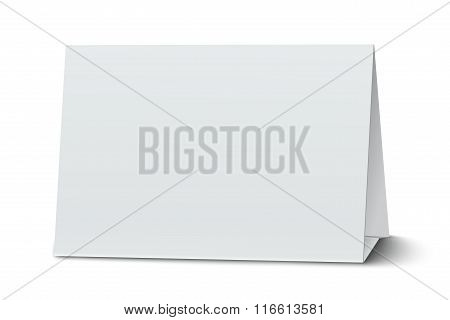 Horizontal Blank Paper Table Card Isolated On White
