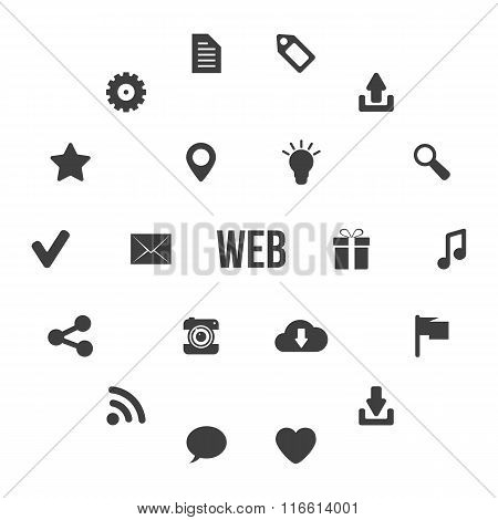 black and white web icons in circles