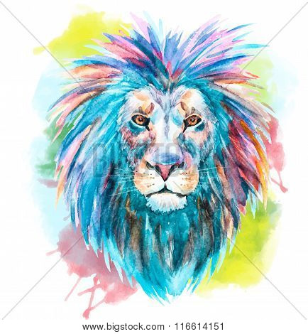 Watercolor vector lion