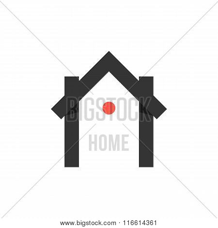 smart house black icon with point