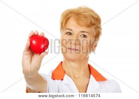 Smile elderly female doctor or nurse holding red toy heart