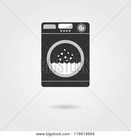 black washing machine with shadow
