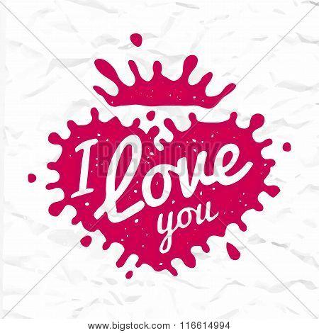 I love you lettering in heart shape splash vector design. Retro scottish luckenbooth symbol logo con