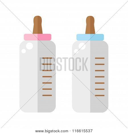 Baby bottles set on white background. Baby bottles icon. Feeding bottle icon. Flat style vector illustration.