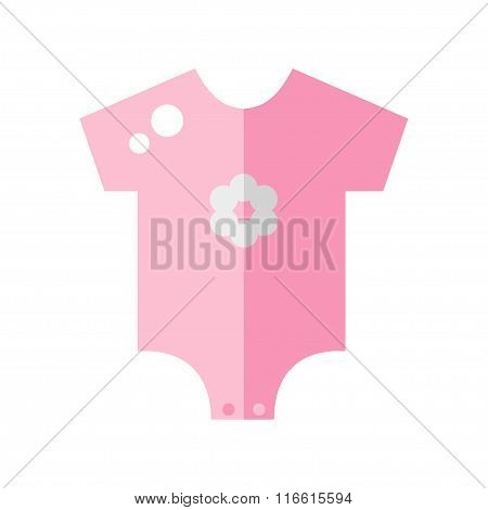 Baby clothing isolated icon on white background. Newborn clothing. Baby body icon. Baby girl clothes. Baby bodysuit. Cute pink clothing for little baby. Flat style vector illustration.