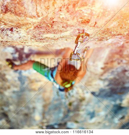 female rock climber