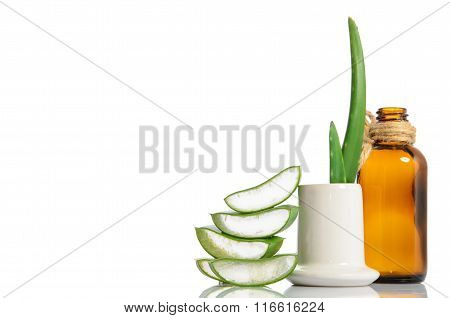 Extract Of Organic Aloe Vera Gel Isolated On White