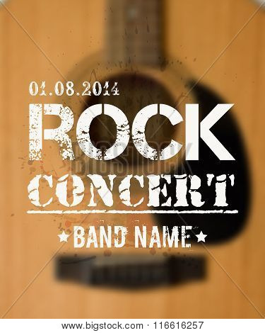 Vector Blurred Background With Acoustic Guitar. Rock Concert Design Template With place for text