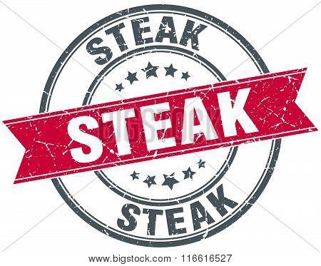 steak red round grunge vintage ribbon stamp
