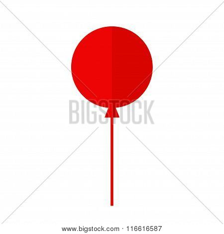 Balloon isolated icon. Colorful balloon. Red balloon. Big round balloon with long ribbon. Balloon icon on white background. Balloon for holidays and birthday party. Flat style vector illustration.