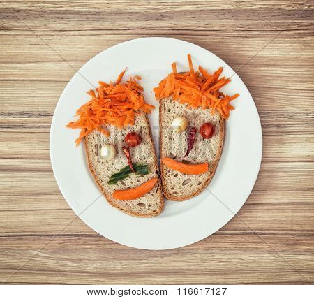 Vegetable Faces Made Of Bread, Cheese, Chilli, Tomatoes And Carrot, Couple In Love