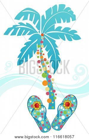 Tropical flipflops palm tree and waves Buttons on the flower on shoes