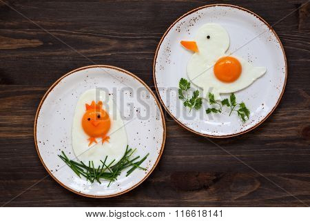Easter breakfast for kids with shaped fried eggs  on a  plate