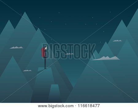 Man and mountains concept hiking, climbing or mountaineering. Person with backpack at night on top o