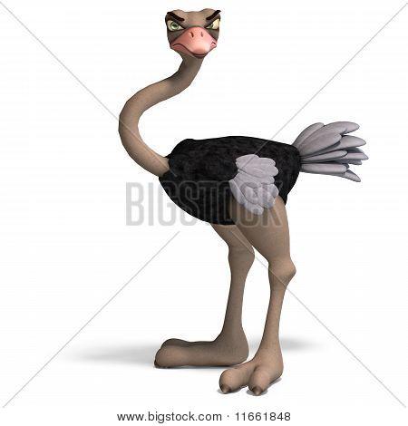 cute toon ostrich