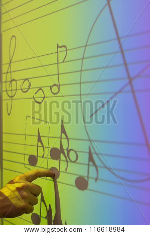 Whiteboard With Music Notes
