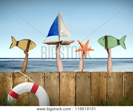Fish Sailboat Starfish Coconut Buoy Sea Ocean Concept