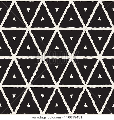 Vector Seamless Black And White Hand Painted Line Geometric Triangle Grid Pattern
