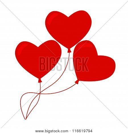 Heart balloons isolated icon on white background.