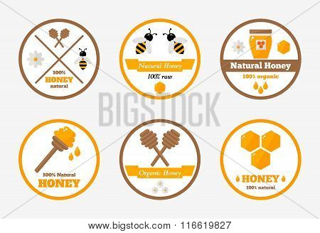 Honey labels isolated set on background.
