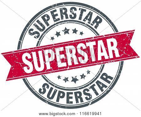 superstar red round grunge vintage ribbon stamp