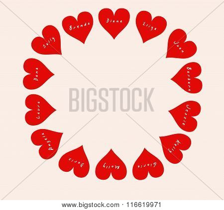 Round frame of 14 hearts with women's names on Valentine's Day