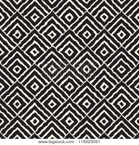 Vector Seamless Black And White Hand Painted Line Concentric Rhombus Shape Pattern