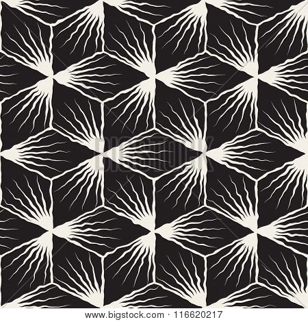 Vector Seamless Black And White Hand Painted Geometric Sunburst Lines Cubic Pattern