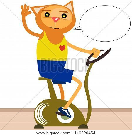 Cat Riding On Stationary Bicycle With Speech Bubble