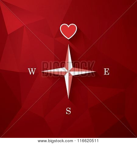 Valentine's day card template with love compass and heart in the middle. Symbol of romance on red lo