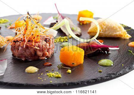 Beef Tartare on Black Stone