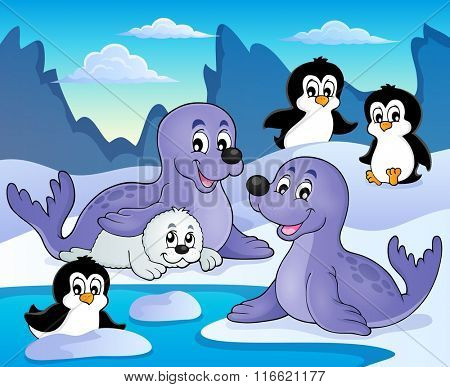 Seals and penguins theme image 1 - eps10 vector illustration.