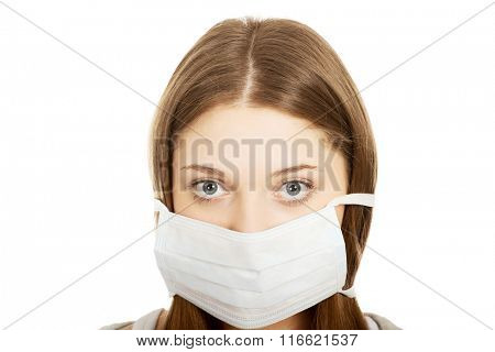 Teen woman with protective mask.
