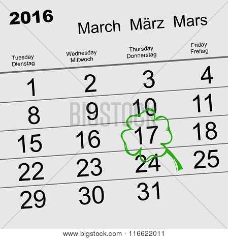 Saint Patricks Day. Calendar 2016 March 17