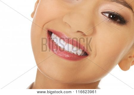 Beautiful woman with toothy smile.