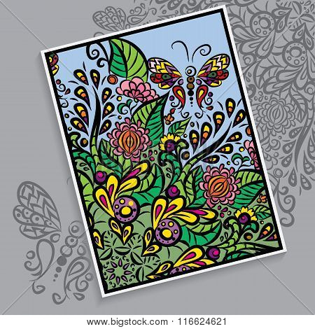 Vector Colorful Card. Background With Ornament.
