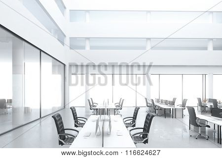 Modern Open Space Office With Work Places And Big Windows